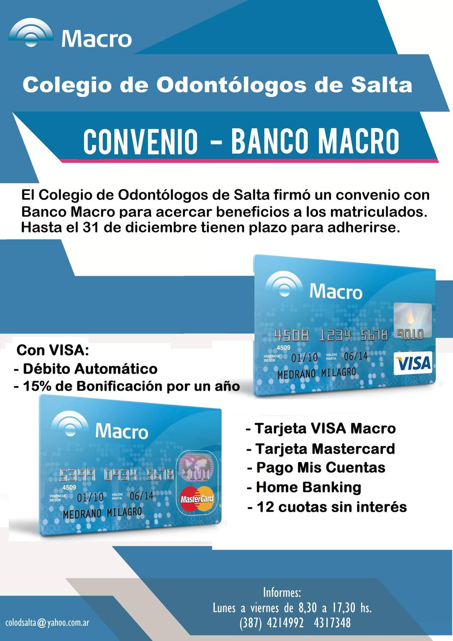 Convenio Banco Macro